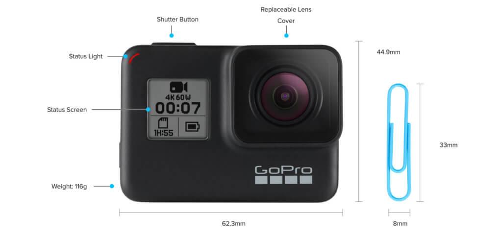 Einige technische Daten der GoPro HERO7 Black. Trotz geringer Maße und kleinem Gewicht sind 4K-Aufnahmen bei HyperSmooth-Bildstabilisation, HDR-Fotos und mehr möglich. Das zeigen auch Test- und Erfahrungsberichte zur Hero 7 Black.