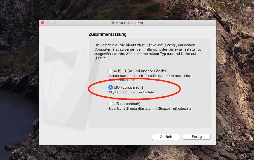 """Verbindet man die InLine-Tastatur mit dem Mac, ist dieser etwas am Rätseln, welchen Tastaturtyp er vor sich hat. Die manuelle Auswahl sollte man aus dem Grund auf """"europäisch"""" stellen."""