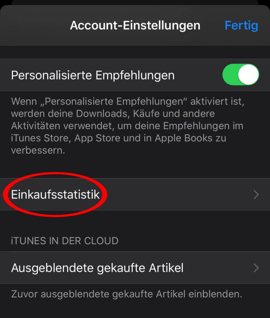 Über die Einkaufsstatistik im App Store auf dem iPhone könnt ihr manuell Rechnungen für Apps, In-App-Käufe, Abonnements und dergleichen anfordern.