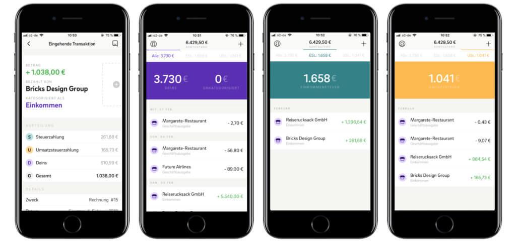 Per Kontist-App lassen sich alle Konten einsehen, die Steuerausgaben im Blick behalten und Belege für weitere Ausgaben einspeisen. So kann alles gegengerechnet und der Gewinn in Echtzeit ermittelt werden.