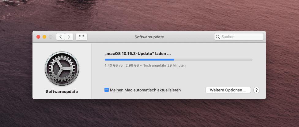 Das Update auf Catalina 10.15.3 hat bei mir keine Unregelmässigkeiten aufgeworfen.