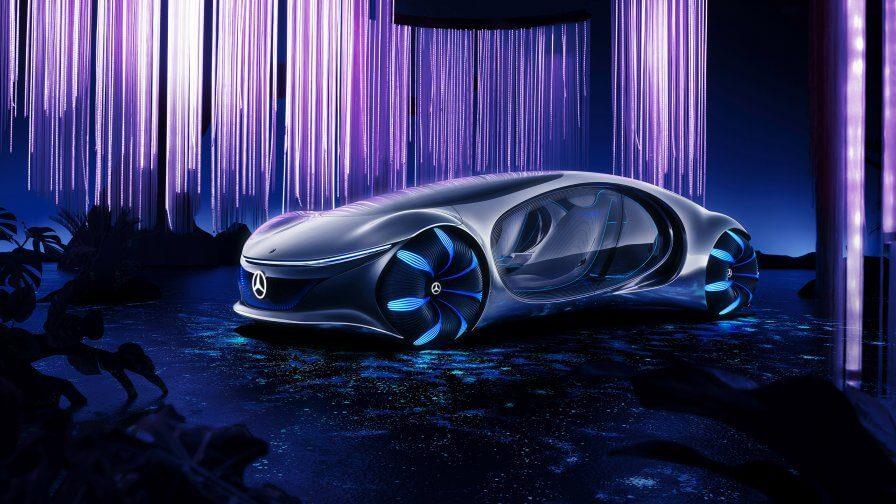 Von Avatar inspiriert und entsprechend futuristisch zeigt sich das E-Auto Vision AVTR von Mercedes-Benz. Quelle: Mercedes-Benz
