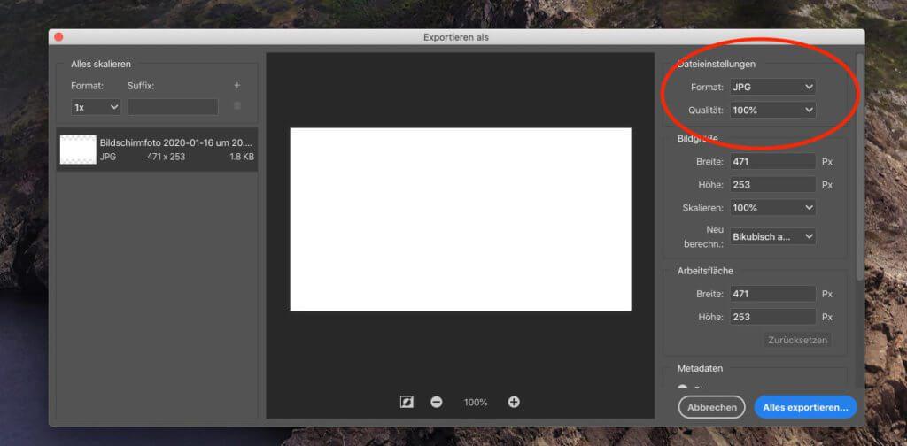 Die adobe-eigene Export-Funktion in Photoshop ist leider sehr vergesslich und erfordert jedes Mal aufs neue die gleichen Einstellungen.