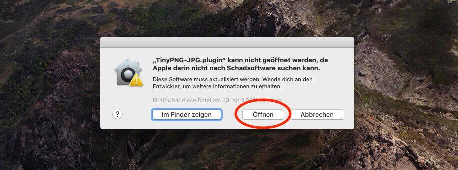 Hat man die Sicherheitseinstellungen vorgenommen, wird man vom Mac noch einmal gefragt, ob man das Programm tatsächlich öffnen möchte.