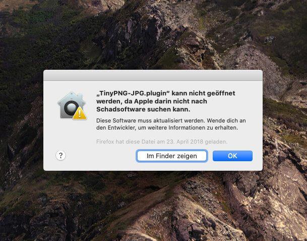 Fehlermeldung des TinyPNG Plugins unter Photoshop