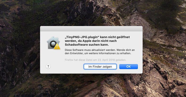Unter macOS Catalina wirft das Photoshop-Plugin von TinyPNG leider erstmal nur Fehler aus, die man beheben muss.