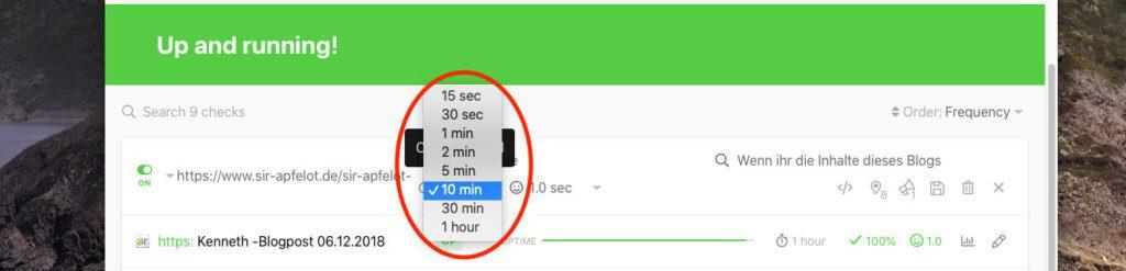 Bei den Tests kann man ein Zeitintervall wählen, in dem der Test durchgeführt wird. Im Fall eines Backlink-Checks würden mir eigentlich 24 Stunden reichen, aber leider ist das Maximum eine Stunde.