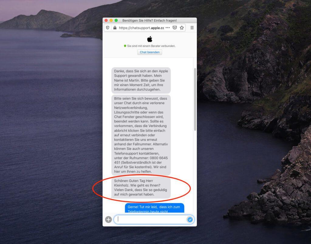 Ich habe mit dem Apple Support bisher nur gute Erfahrungen gesammelt. So auch in diesem Fall. Auch wenn es übertrieben ist, mich nach meiner Befindlichkeit zu fragen, finde ich es doch eine nette Geste.