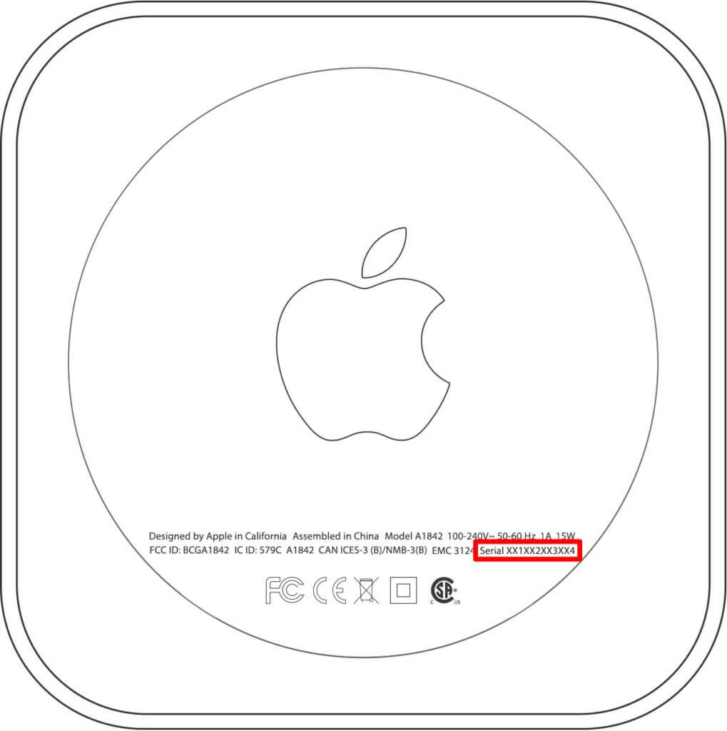 Die Apple TV Seriennummer bzw. Serial Number findet ihr auch auf der Verpackung oder auf der Unterseite des Geräts. Hier eine Beispielgrafik von Apple.