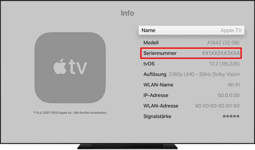 Die Apple TV Seriennummer suchen könnt ihr im Menü des Geräts in den Einstellungen.