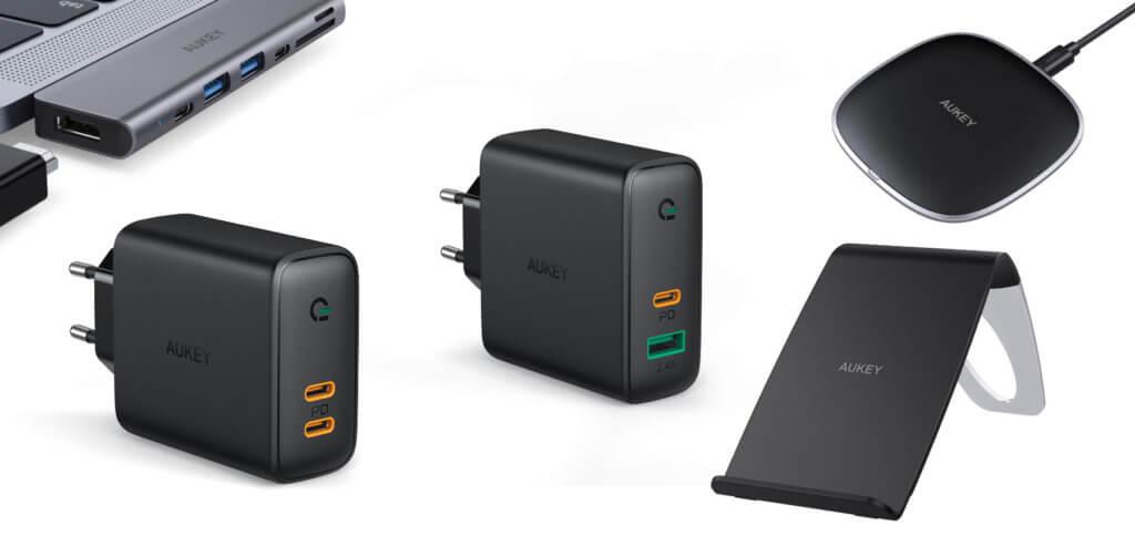 Zwei Netzteile, zwei Qi-Ladegeräte und ein USB-C-Hub fürs MacBook Pro 2018 von AUKEY gibt es aktuell dank Amazon Rabattcodes günstiger.