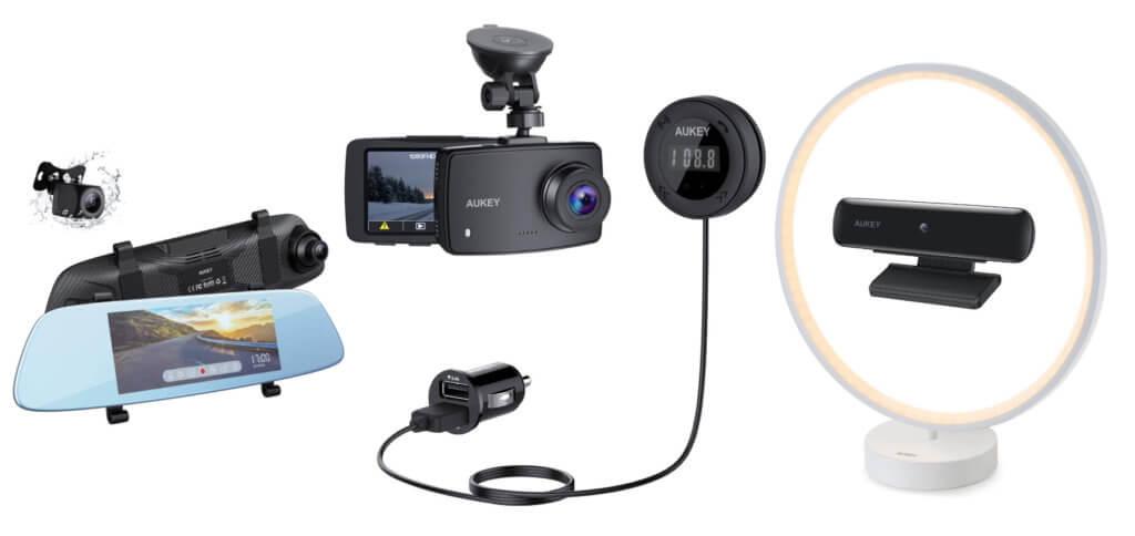 Zwei Dashcams und ein Bluetooth zu FM Transmitter fürs Auto, eine Webcam für Mac und PC sowie eine moderne LED-Lampe gibt es von AUKEY bei Amazon bis zum 24.02.2020 günstiger.