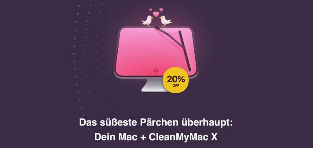 CleanMyMac X mit 20% Rabatt zum Valentinstag. Mac-App zur Beschleunigung und Bereinigung des Systems bis 18.02.2020 günstiger kaufen! Oder andere Valentinstagsgeschenke, die ihr im letzten Absatz verlinkt findet ;)
