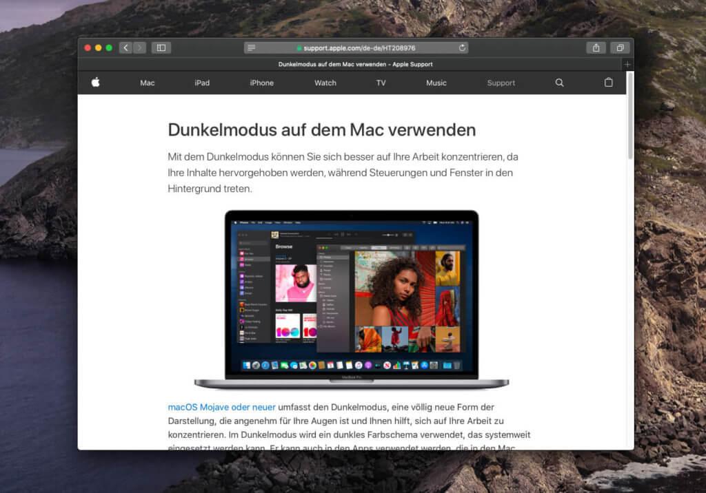 Den Dunkelmodus gibt es seit macOS Mojave am Mac. Apple hat hier einen Support-Eintrag, wie man ihn aktiviert.