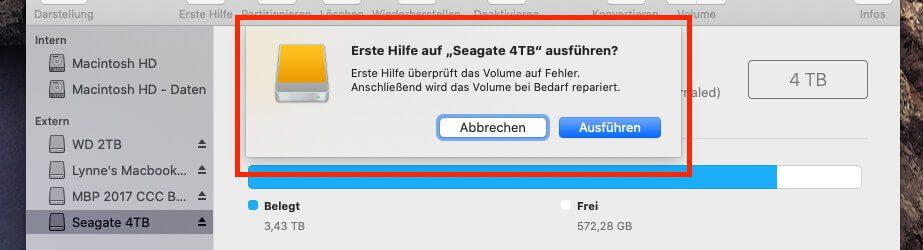 Nach einer Rückfrage der Software kann die Reparatur des Volumes starten.