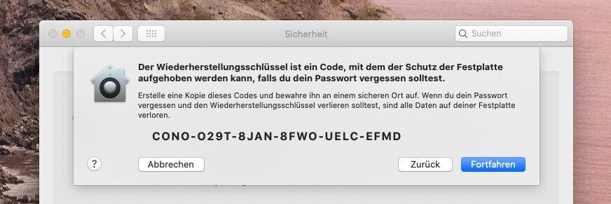 Hat man das FileVault-Kennwort vergessen, hilft in der Regel nur der Wiederherstellungskey – oder das iCloud Konto, wenn man es als Notfallhilfe aktiviert hat.