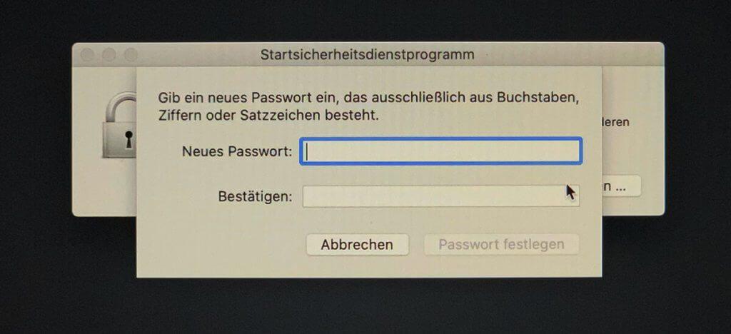Mit dem EFI-Passwort ist das Booten des Mac über CDs, DVD, USB-Stick und andere Volumes nur möglich, wenn man das Passwort kennt.