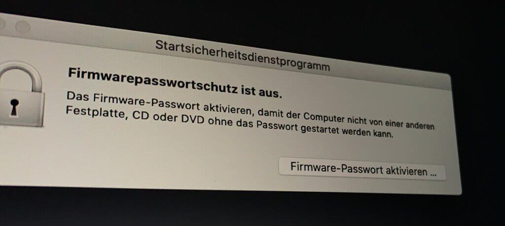 Bei mir ist der Firmware-Passwortschutz ausgeschaltet, da ich meinen Mac häufiger für Testzwecke mit dem Bootmanager oder im Safe-Mode booten muss (Fotos: Sir Apfelot).