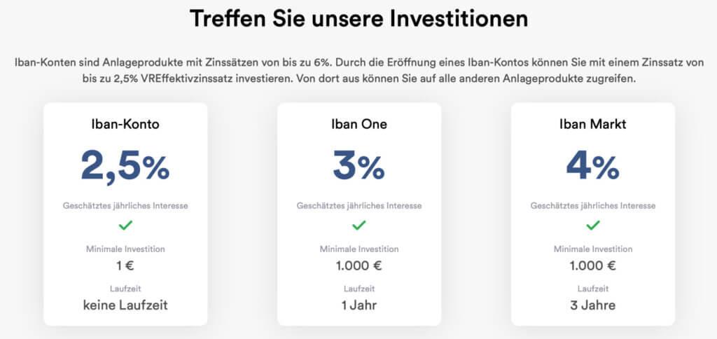 Mit dem Iban Wallet könnt ihr verschieden Möglichkeiten zum Investieren und Zinsen erhalten bekommen. Hier nicht aufgeführt: das Dynamic-Konto mit bis zu 6% Zinsen.