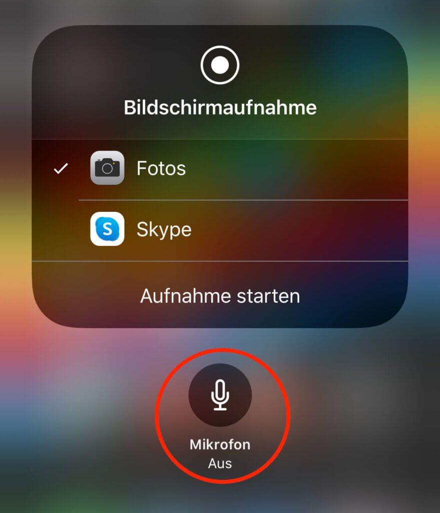 Drückt man länger auf den Aufnahme-Button der Bildschirmaufnahme, kann man als Audioquelle für das Screenrecording auch das interne Mikrofon des iPad oder iPhone auswählen.