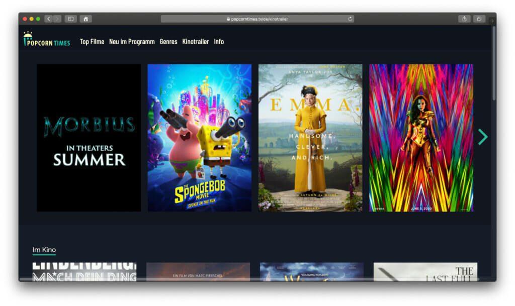 Ihr könnt bei Popcorntimes zwar keine aktuellen Kino-Filme streamen, aber dafür Trailer für selbige.