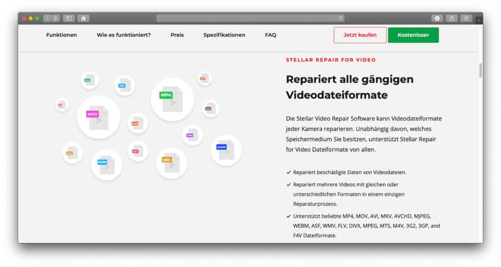 Beschädigte Videos reparieren geht in jedem gängigen Format – neben MP4 sind auch MOV, AVI, DIVX und MPEG dabei.