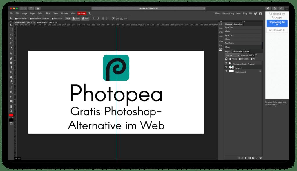 Anstatt eine Grafik in meinem Standardprogramm zu erstellen, habe ich das Bild für diesen Beitrag direkt in Photopea erstellt. Photopea bietet nützliche Werkzeuge, viele Schriftarten, Hilfslinien und sogar eine automatische Ausrichtung an der Bildmitte. Und natürlich noch weitere Optionen, die ich nicht ausprobiert hab ;)