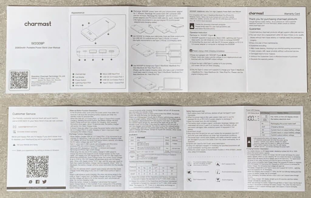 Anleitung zur Charmast W2009P Powerbank. Hier als JPG zum Download.