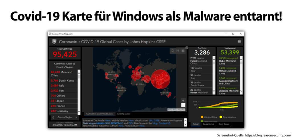 Installiert euch keine Covid-19-Ausbreitungskarte als App, sondern nutzt Web-Tools aus seriösen Quellen. Eine Coronavirus-Karte als .exe kann Malware sein!