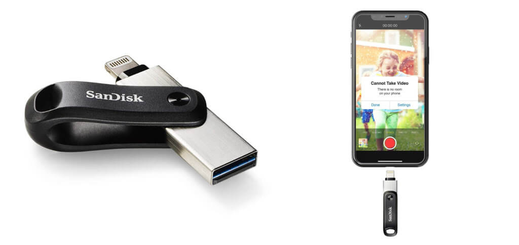 """Der SanDisk iXpand Go ist ein USB-Stick mit Lightning-Stecker als externer Speicher für Apple iPhone, iPad und iPod touch. Mehr Speicherplatz für Fotos und Videos, auch auf """"kleinen"""" Smartphone-Modellen von Apple."""