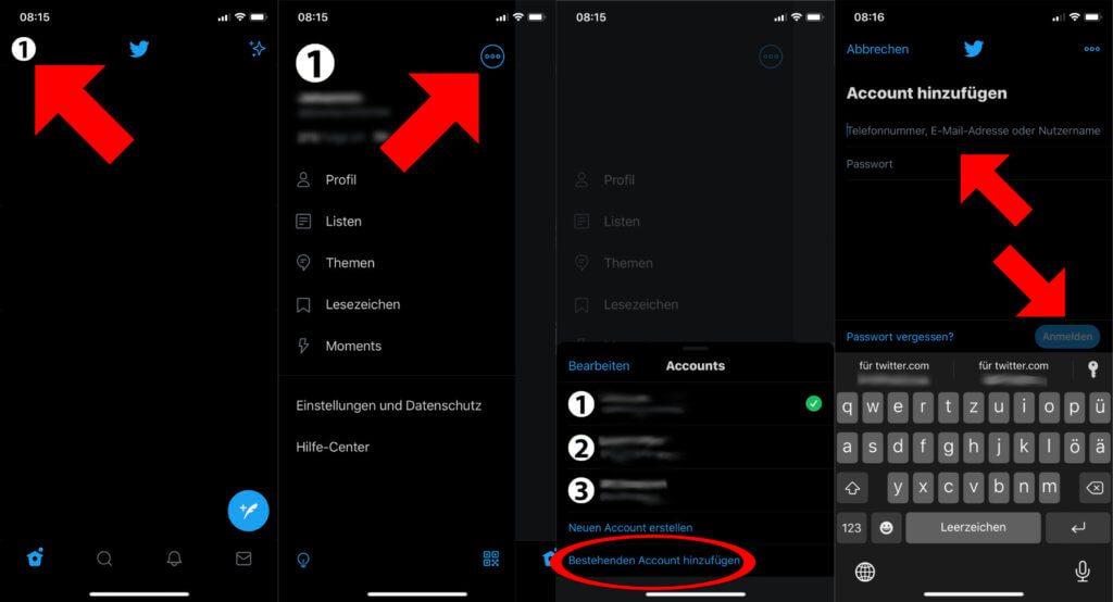 Am iPhone mehrere Twitter Accounts gleichzeitig verwalten – ohne zusätzliche Software, allein in der offiziellen iOS-App. Mit diesen Schritten klappt's!