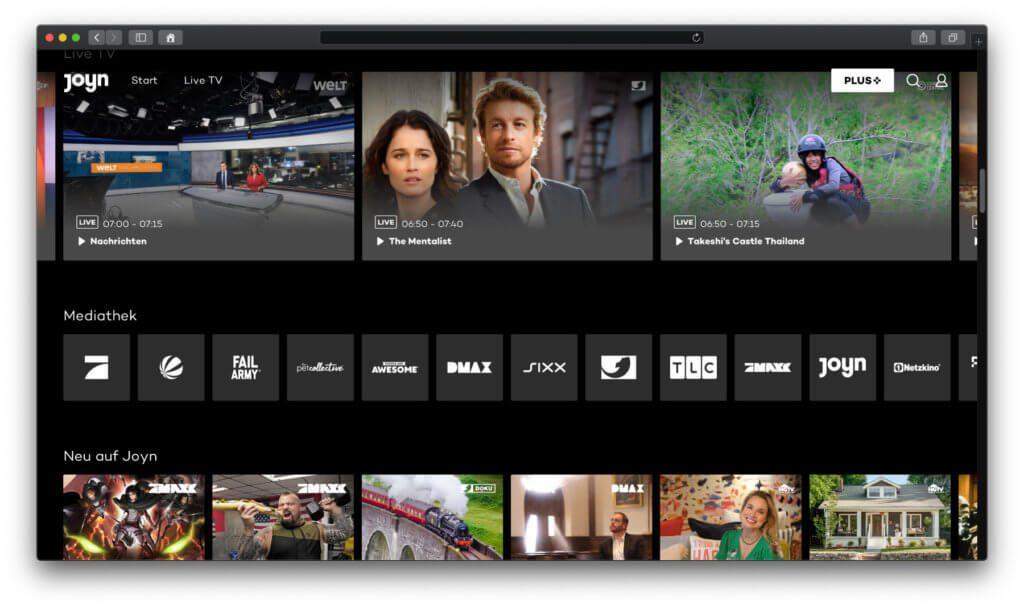 Bei Joyn bekommt ihr kostenloses Fernseh-Streaming. Mit Joyn PLUS+ könnt ihr Filme, Serien, Dokumentationen und Unterhaltungssendungen streamen – jetzt für 3 Monate gratis ;)