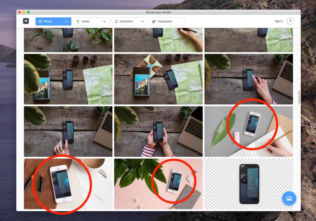 Bei Mockuuups Studio muss man leider damit leben, dass auch alte iPhone Modelle in der Liste auftauchen.