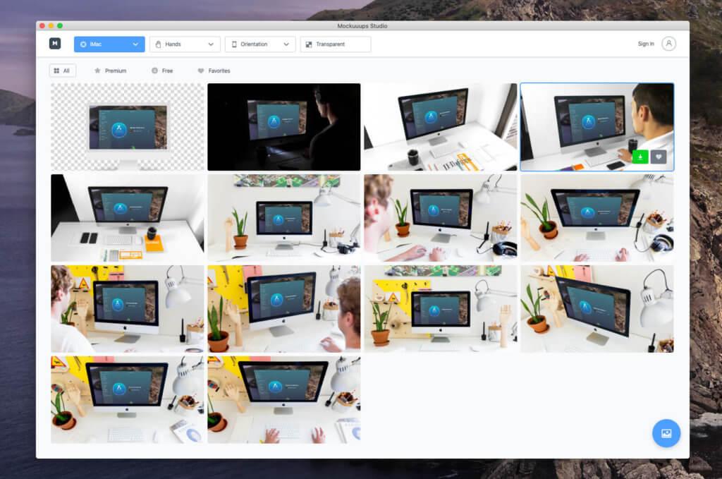 Leider findet man nur 14 iMac Mockups bei Mockuuups Studio. Da hat Placeit deutlich mehr zu bieten.