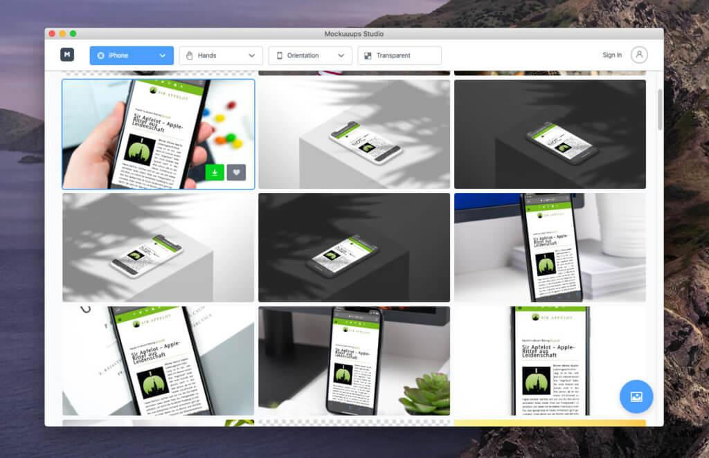 Bei beiden Services kann man bereits in der Vorschau sehen, wie die Mockups mit hochgeladenen Screenshot aussehen.