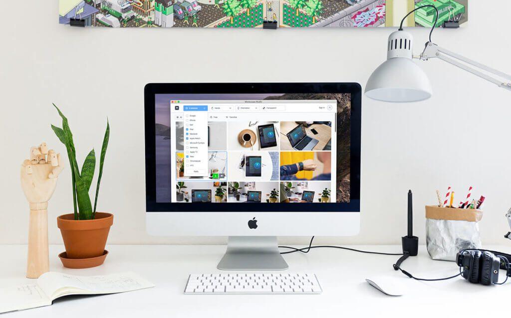 Hier habe ich ein iMac Mockup mit Mockuuups erstellt, in dem ein Screenshot von Mockuuups zu sehen ist. Wenn das keine Kunst ist…