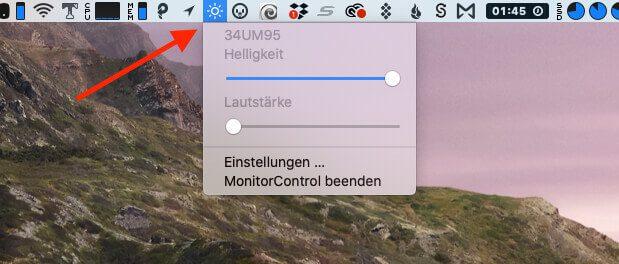 MonitorControl nistet sich auch in der Menüzeile ein, damit man die Einstellungen der App sehen und verändern kann.