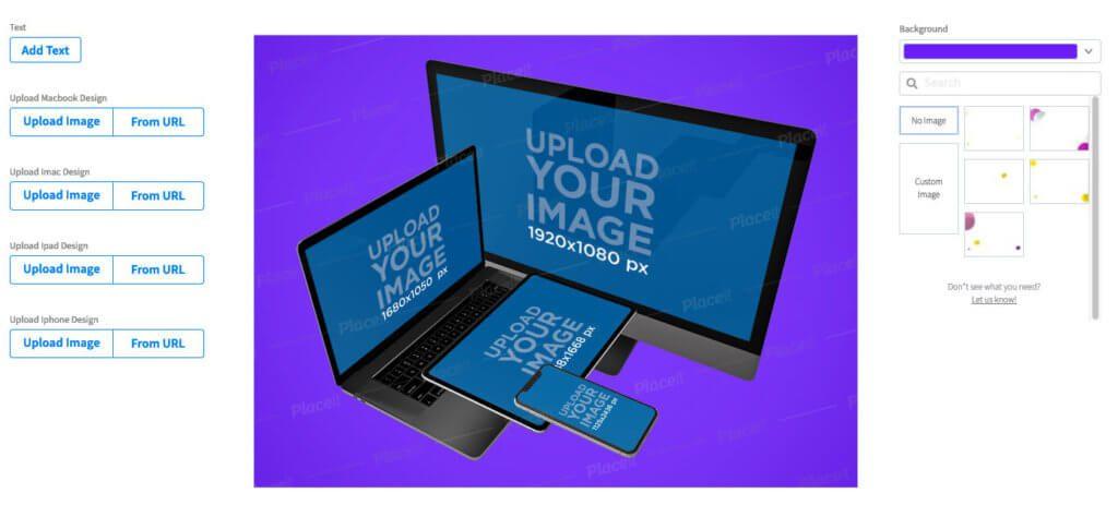 Auch wenn man ein Mockup benötigt, auf dem die wichtigsten Apple Geräte wie iMac, MacBook, iPad und iPhone zu sehen sind, hilft Placeit mit entsprechenden Vorlagen aus.