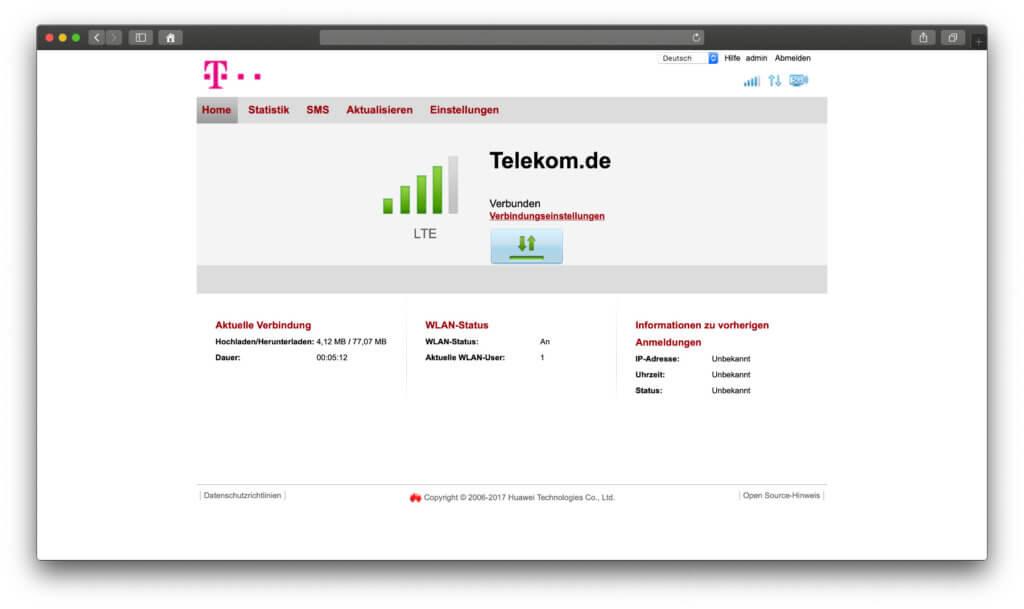Mal wurde LTE als Signalstärke angezeigt, mal empfing die Telekom Speedbox LTE IV auch LTE+. Die Verbindung ist zum Arbeiten und auch für Videos oder Streams ausreichend.