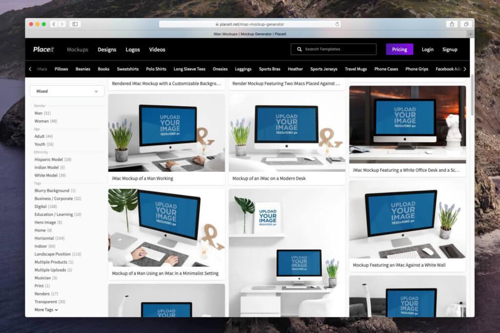 Beim Service Placeit.net gibt es ca. 170 iMac Mockups zur Auswahl. Mehr als die zehnfache Menge im Vergleich zu Mockuuups Studio (Fotos: Sir Apfelot).