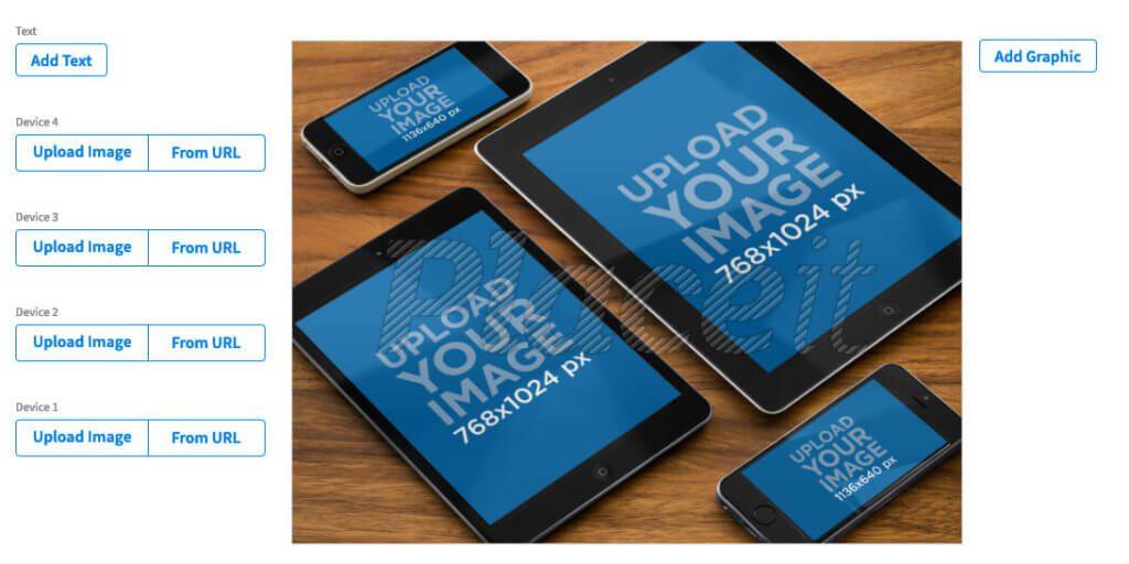 Mockups mit meheren Geräten findet man nur auf Placeit.net. Hier ein paar iPads und iPhones auf einem Holztisch.