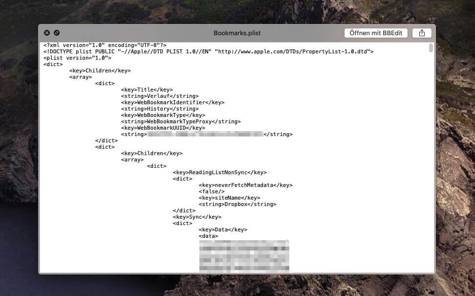 Die Bookmarks.plist Datei hat den typischen Aufbau einer XML-Datei und ermöglicht so eine Bearbeitung mit XML-Tools.