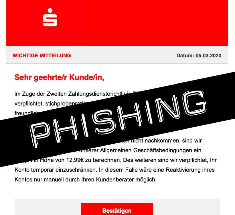 Vorsicht: Phishing Mail von Sparkasse