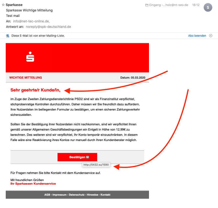 So sieht die Phishing E-Mail aus, die ich scheinbar von der Sparkasse erhalten habe (Screenshot: Sir Apfelot).