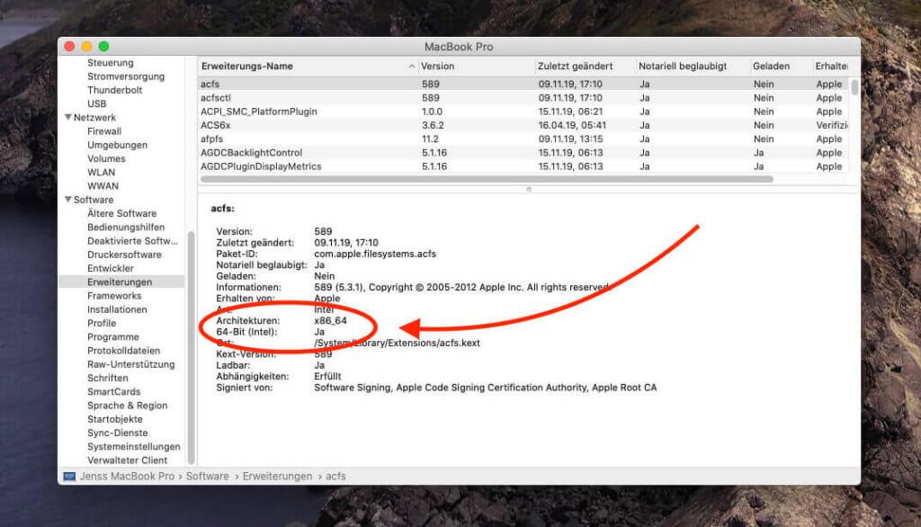 Anhand des Systemberichts kann man erkennen, auf welcher Architektur der Prozessor des Mac aufgebaut ist.