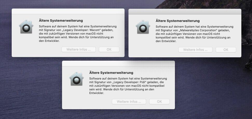 Diese Warnfenster kamen bei mir erst nach dem Neustart mit macOS 10.15.4. Die entsprechenden Systemerweiterungen gehören zu Software, die ich allerdings schon ewig nicht mehr verwende, von daher ist es kein Problem, wenn ich sie mal entferne.