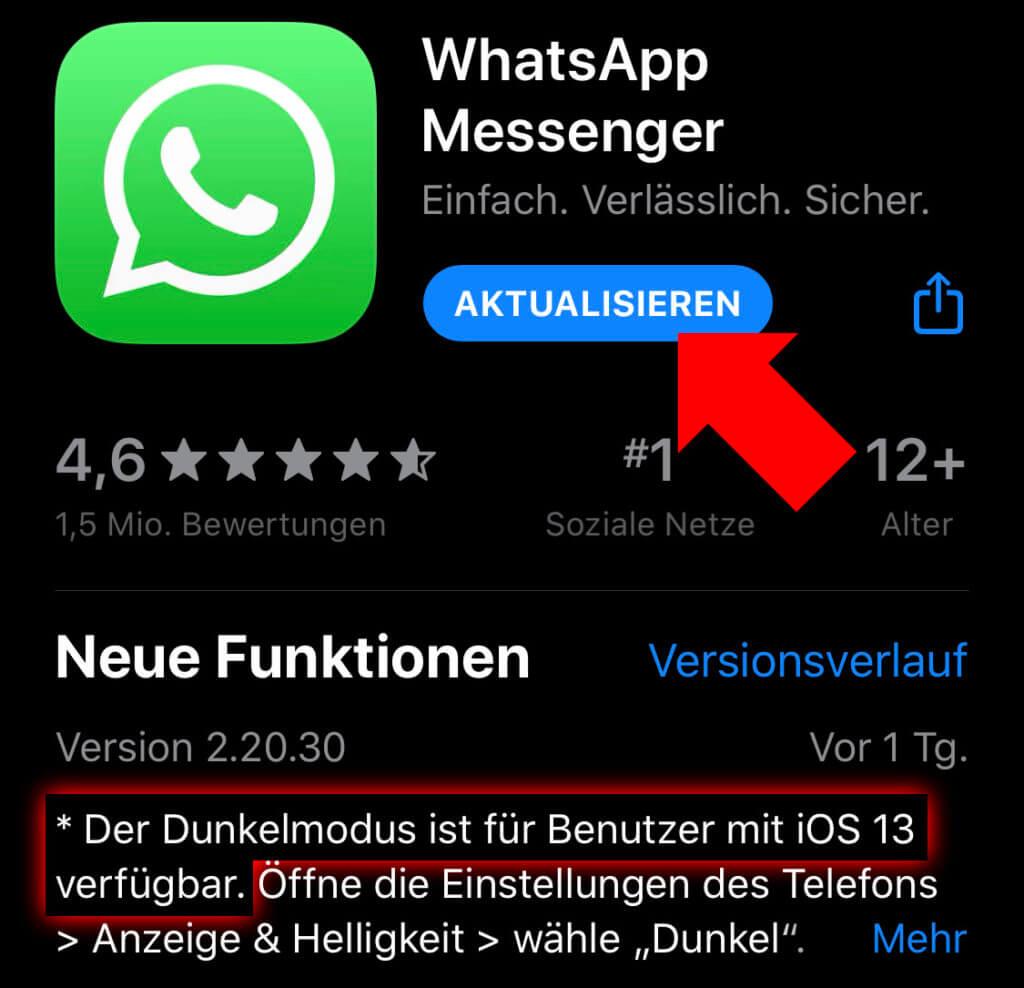 Im App Store auf dem iPhone könnt ihr die Messenger-App WhatsApp aktualisieren und anschließend den Dark Mode in Anspruch nehmen.