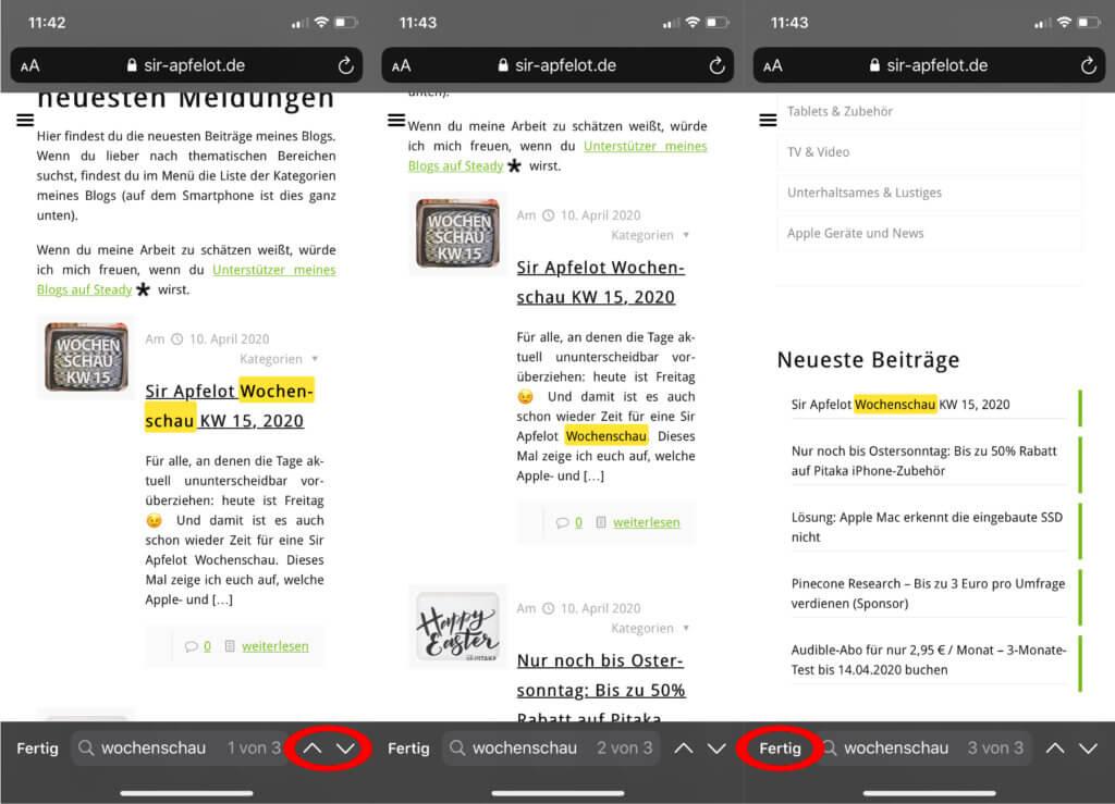 """Mit den Pfeilen könnt ihr zwischen den Suchergebnissen hin- und her springen. Mit """"Fertig"""" beendet ihr die Safari-Suchfunktion am iPhone und iPad."""