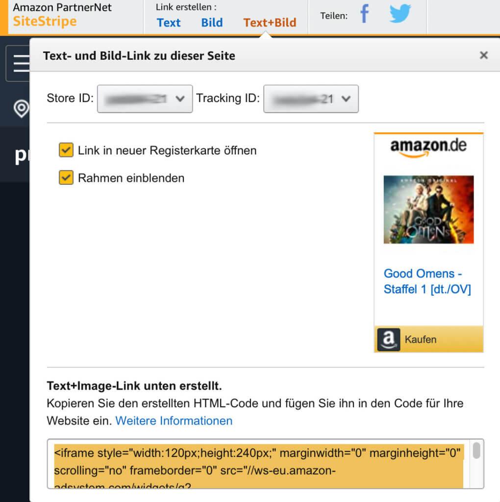 Über den PartnerNet SiteStripe auf einer Produkte-Seite könnt ihr schnell und einfach einen kurzen Textlink sowie Bildlink erstellen. Website Marketing, Blog Marketing