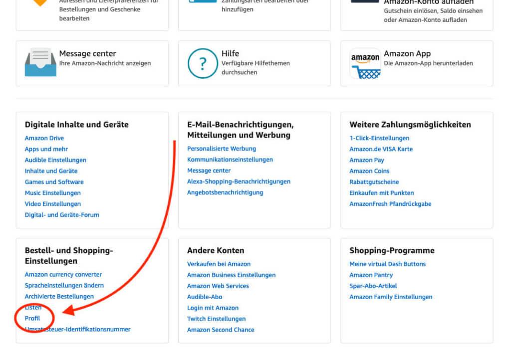 """Euer Amazon Profil könnt ihr direkt über die Hauptseite eures Amazon-Kontos finden – ganz unten im Kasten """"Bestell- und Shopping-Einstellungen""""."""